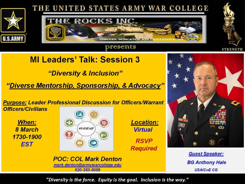 MI Leaders' Talk: Session 3 featuring BG Anthony Hale